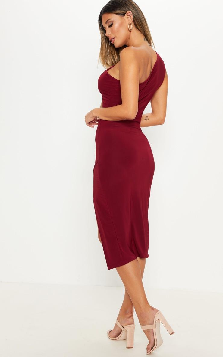 Wine Slinky One Shoulder Drape Midi Dress 2