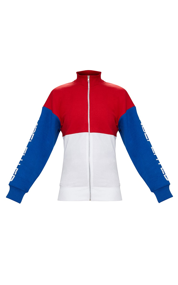 Red Slogan Arm Zip Up Sports Jacket 3