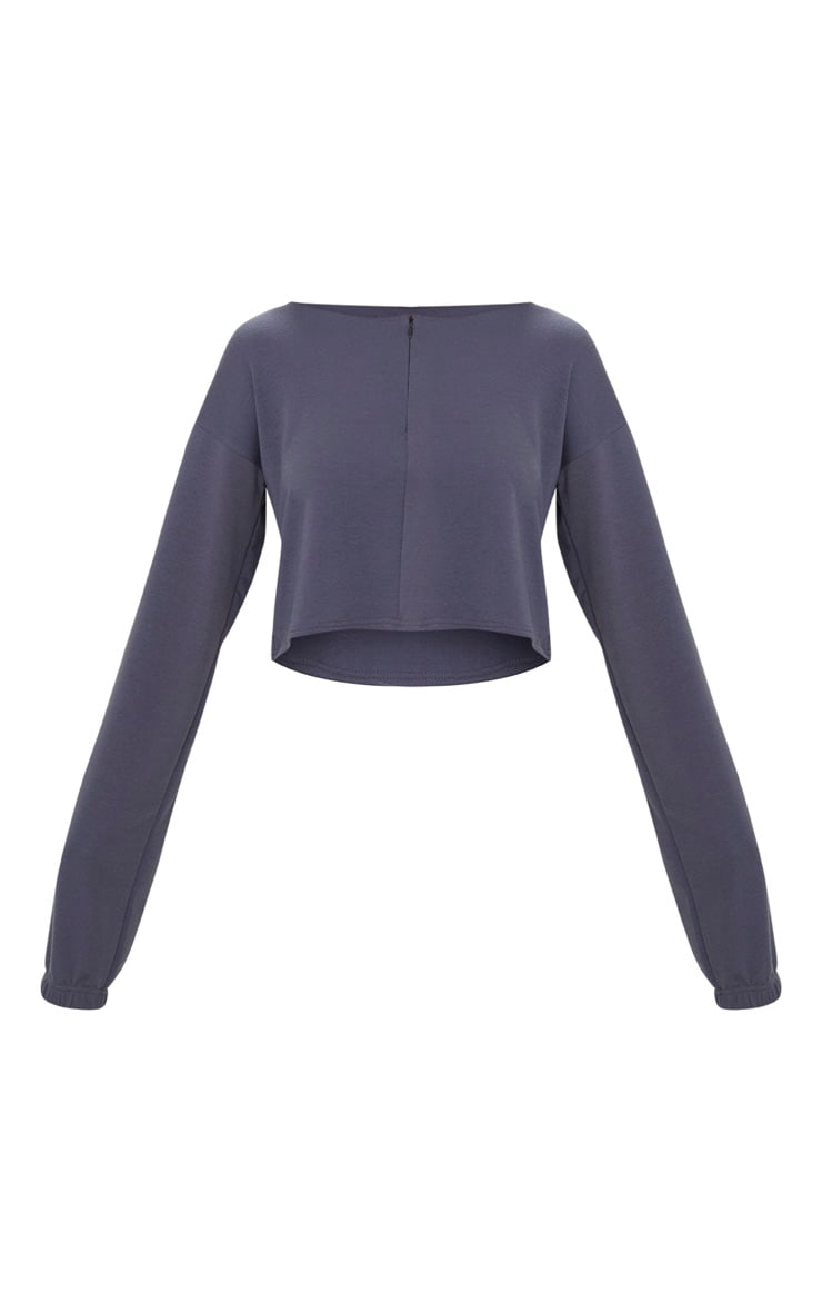 Charcoal Blue Zip Front Sweater  3