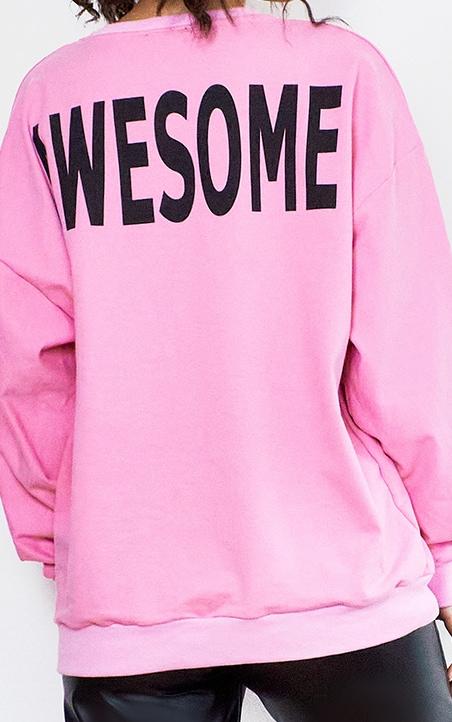 Bright Pink Awesome Printed Sweatshirt 4