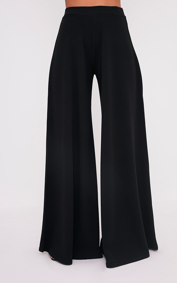 Sidney Black Extreme Wide Leg Crepe Trousers 2
