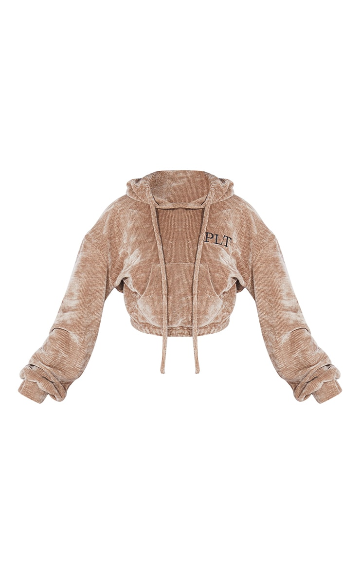PRETTYLITTLETHING Petite Taupe Cropped Chenille Hoodie 5