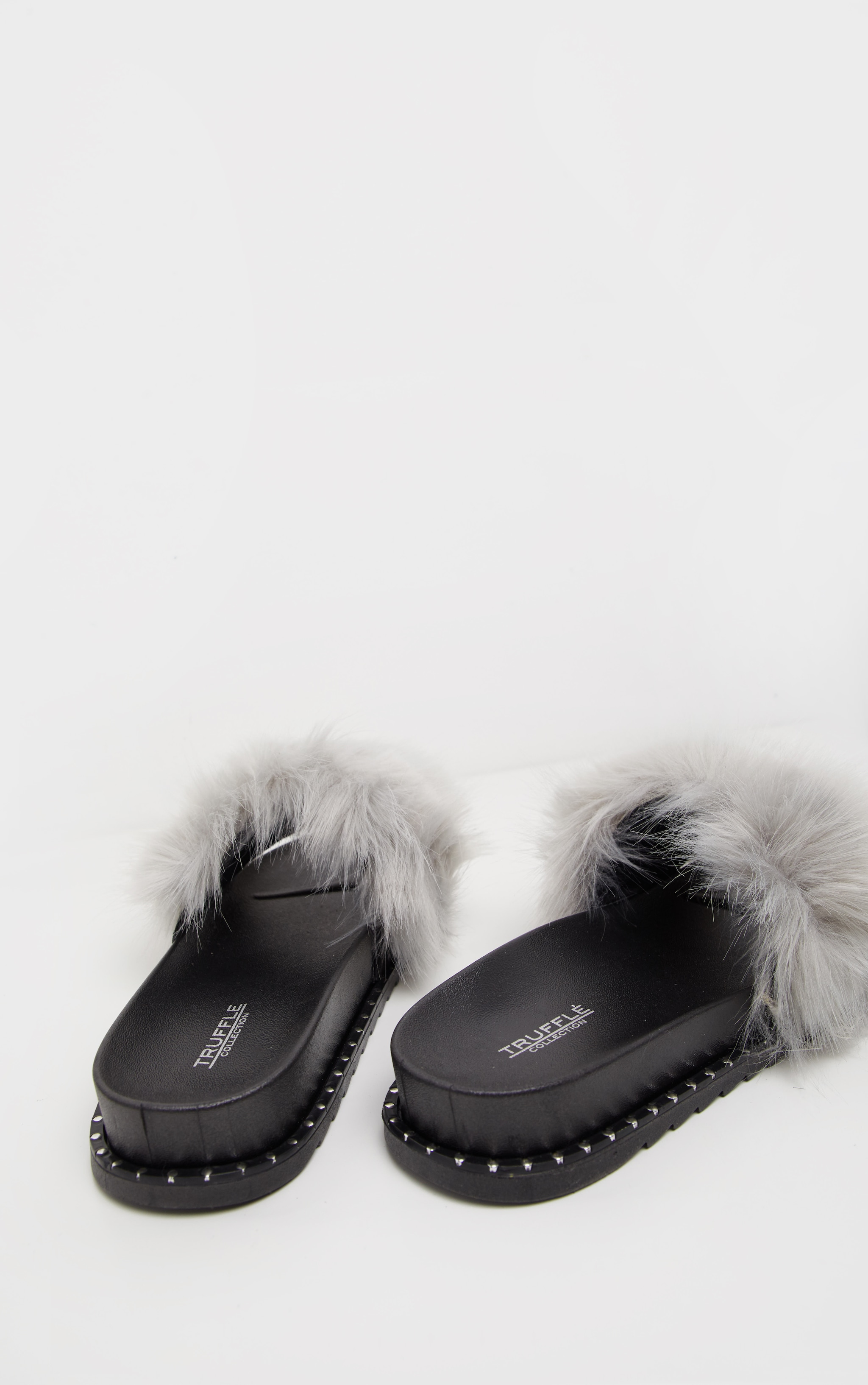Grey Faux Fur Studded Slider 4