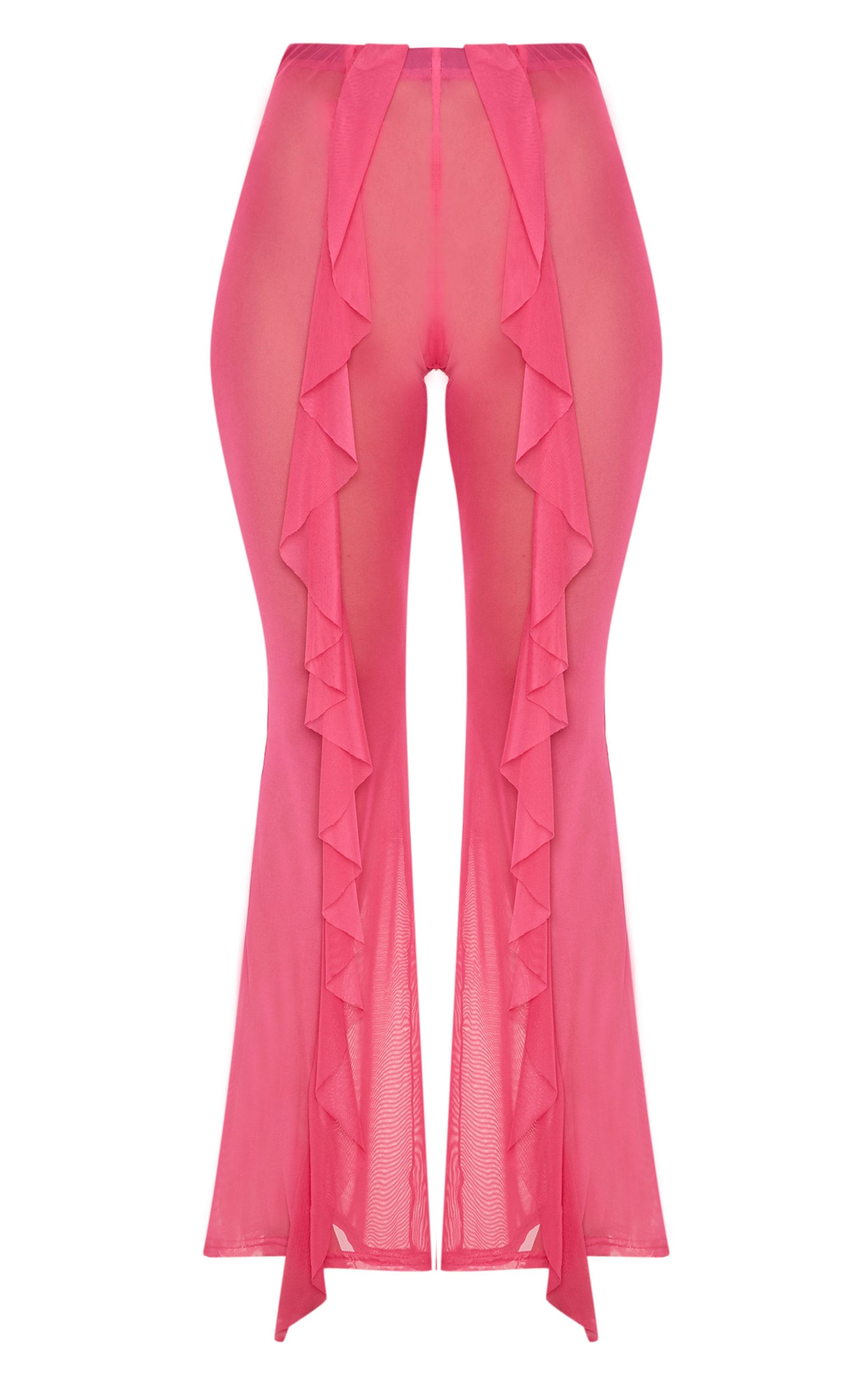 Pink Frill Front Mesh Beach Trouser 3