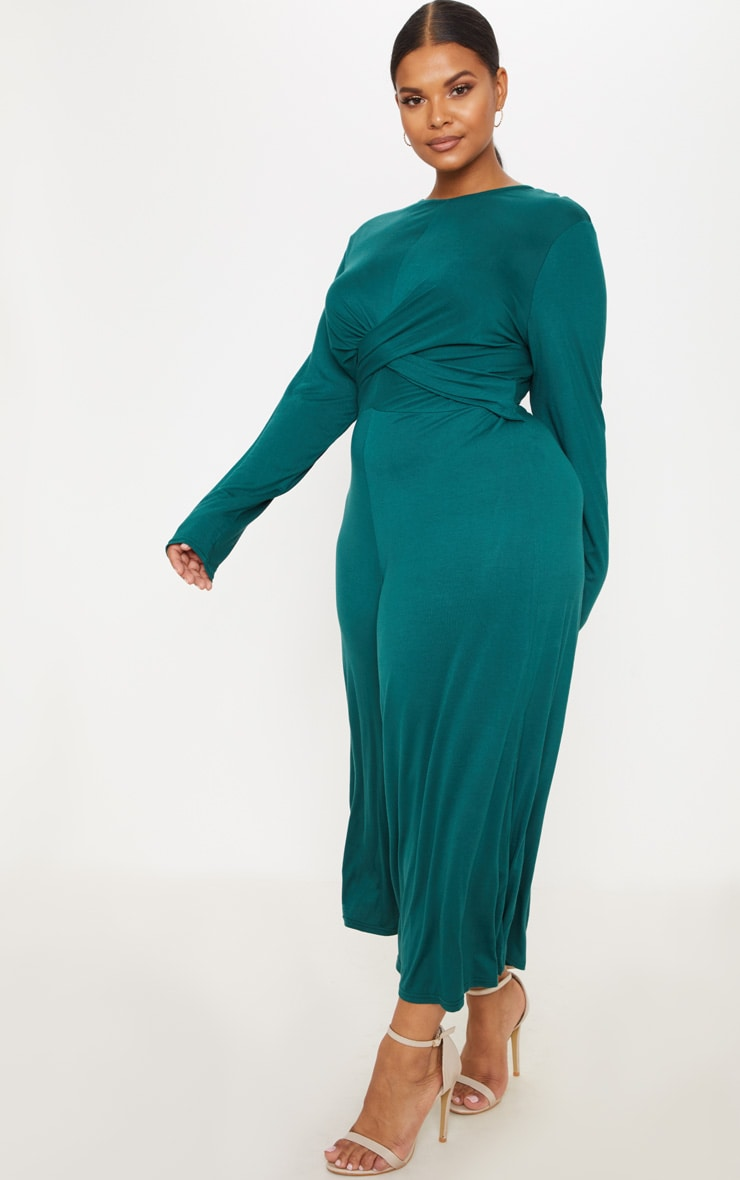 Plus Emerald Green Twist Front Culotte Jumpsuit 4