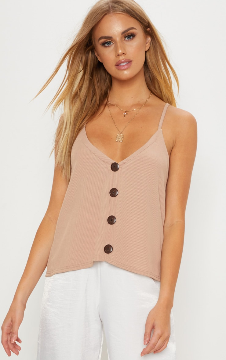 Nude Button Down Ribbed Vest Top