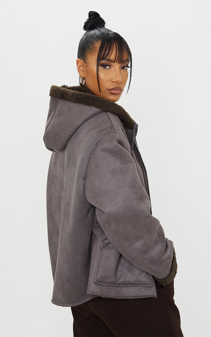 Charcoal Faux Suede Borg Lined Hooded Jacket 2