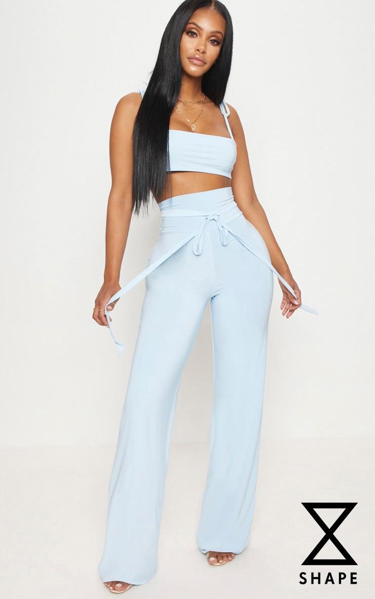 Shape Light Blue Slinky Extreme High Waist Detail Wide Leg Trousers