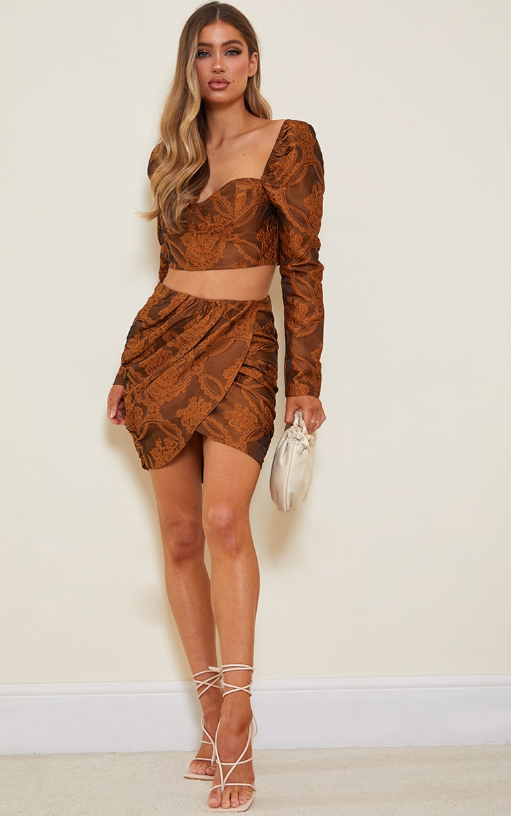 Camel Structured Embossed Jacquard Panel Front Puff Mini Skirt 1