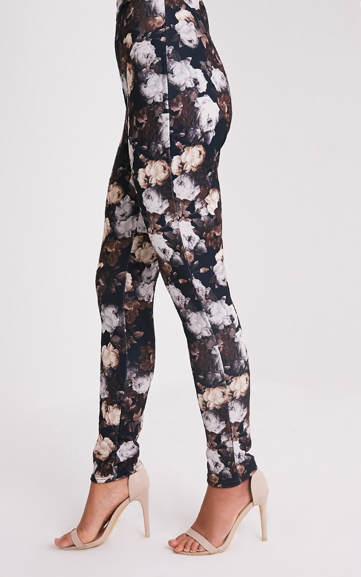 Calissa Black Floral Crepe Cigarette Trousers 4