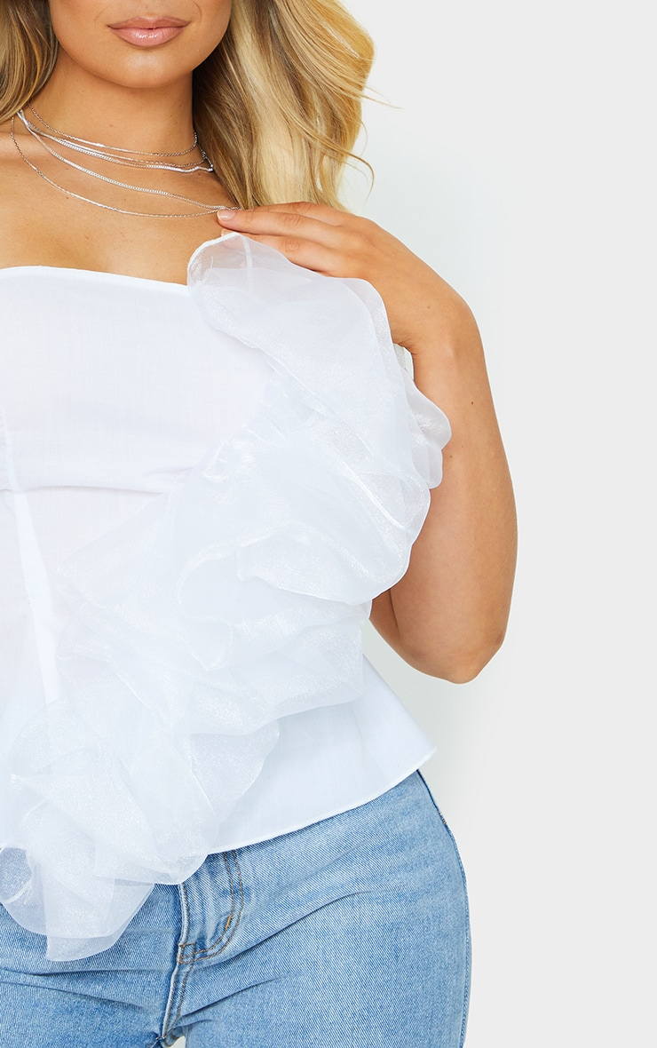White Organza Frill Detail Long Top 4