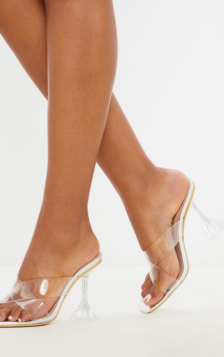 Silver Cross Strap Clear Mule Sandal