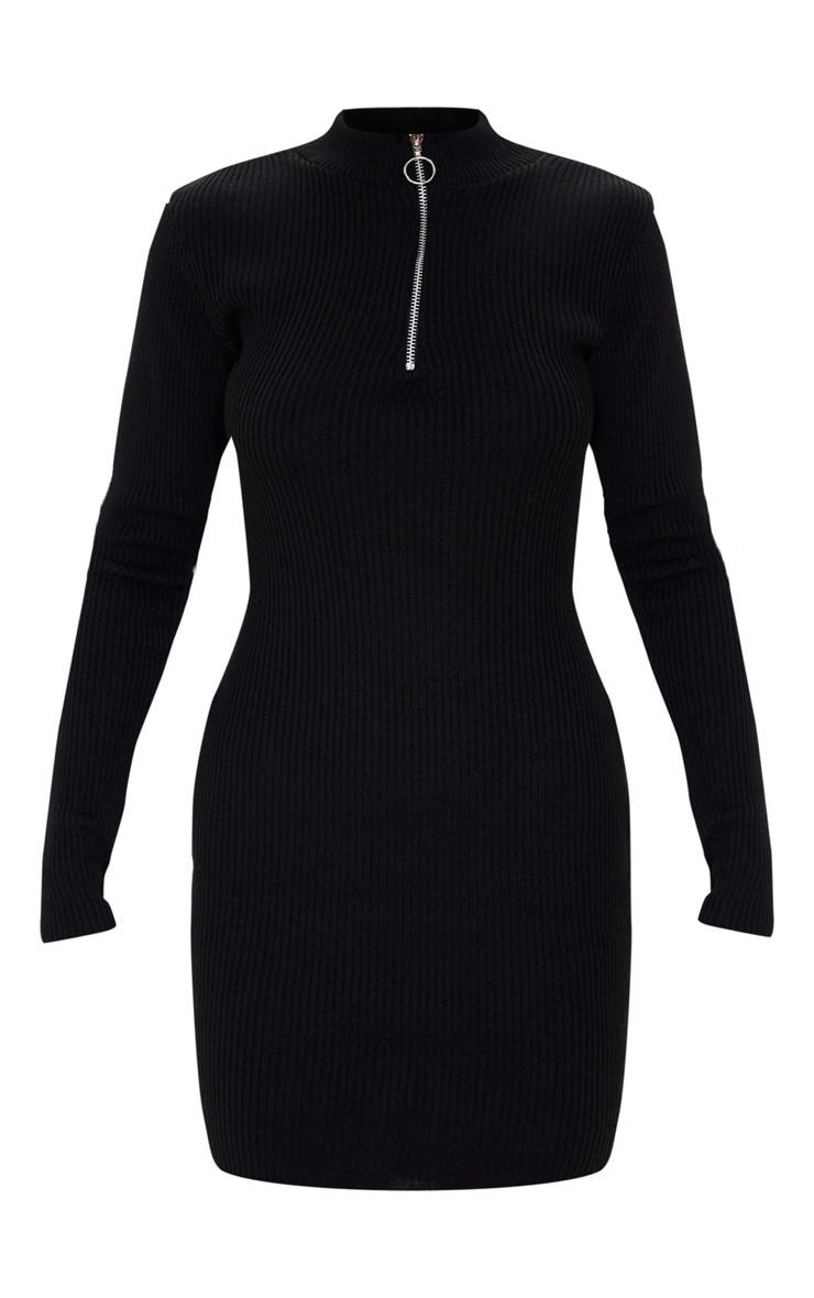 Black High Neck Zip Front Rib Knit Dress 3