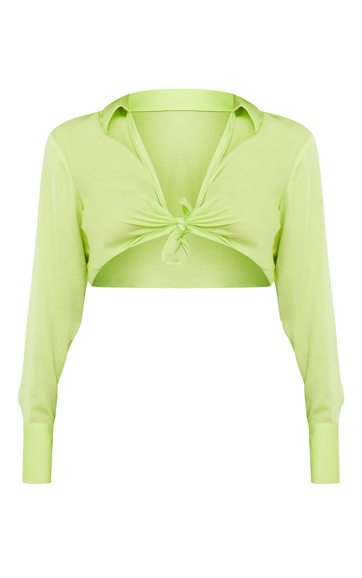 Lime Satin Collared Twist Front Cropped Shirt 5