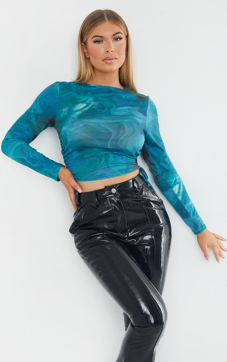 Blue Print Jersey Tie Ruched Side Long Sleeve Crop Top 1