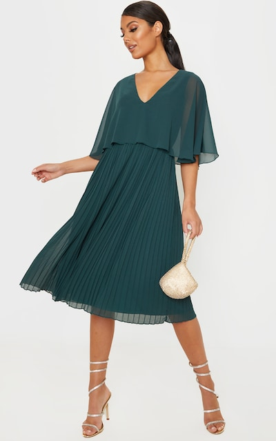 Emerald Green Cape Pleated Detail Midi Dress