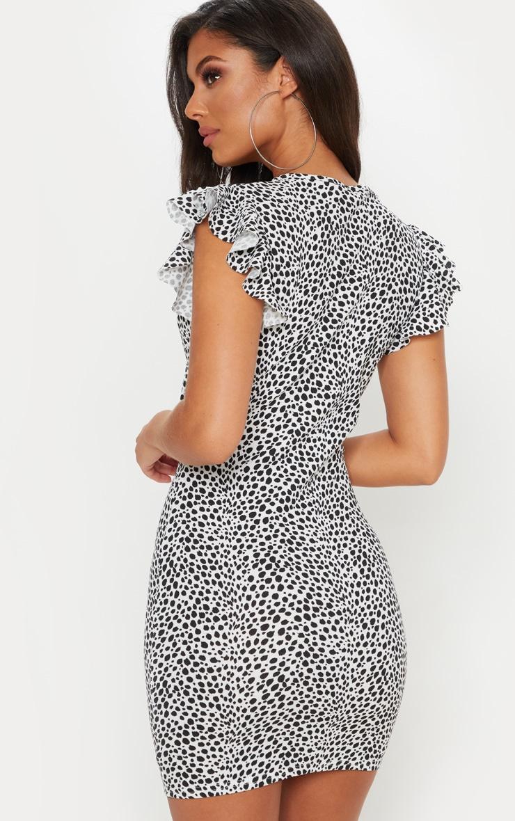 White Dalmatian Print  Tie Front Button Detail Mini Dress 2