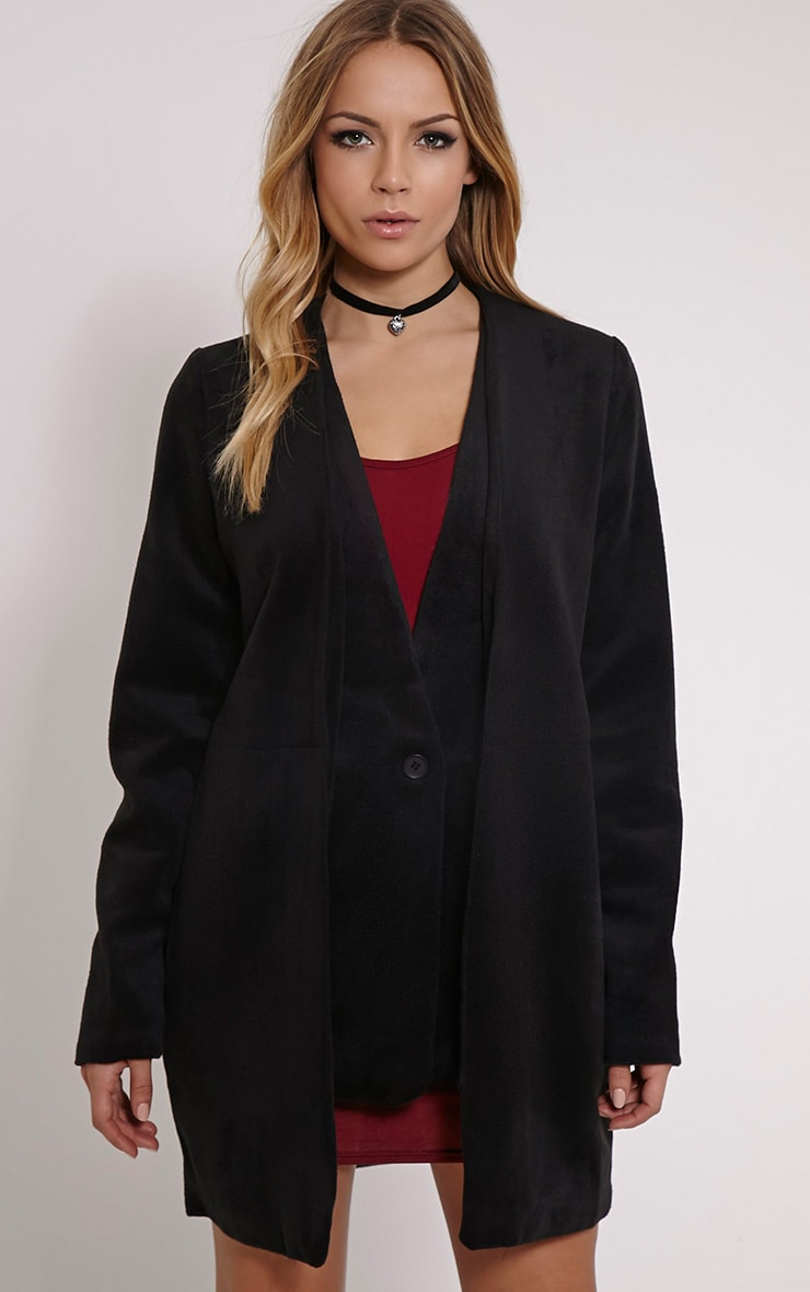 Louella Black Double Layer Oversized Coat 1