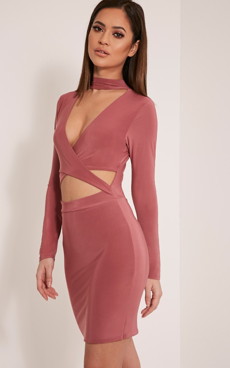 Nadeena Rose Neck Detail Cut Out Bodycon Dress 4