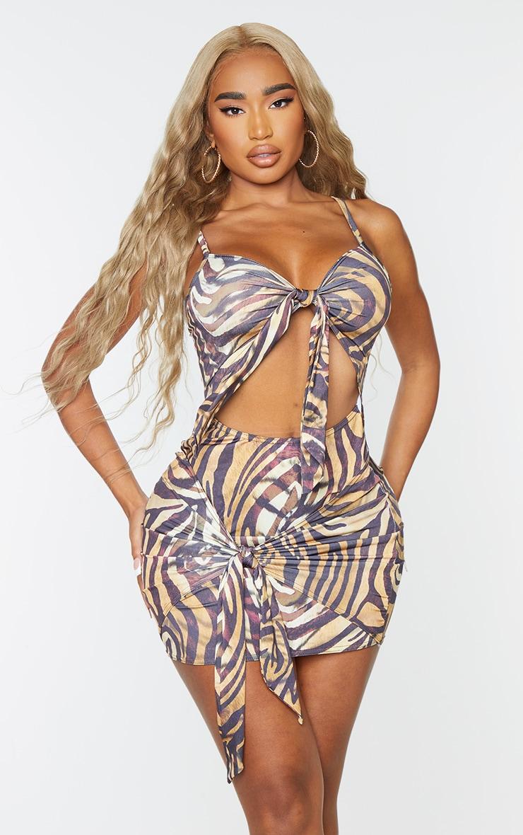 Shape Brown Zebra Print Slinky Tie Detail Cut Out Bodycon Dress 3