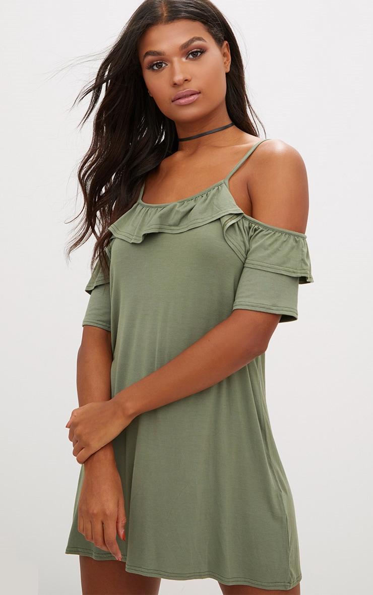Khaki Jersey Cold Shoulder Shift Dress 1
