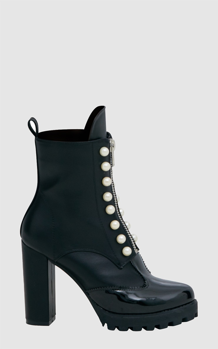 Black Pearl Zip Heeled Ankle Boots 3