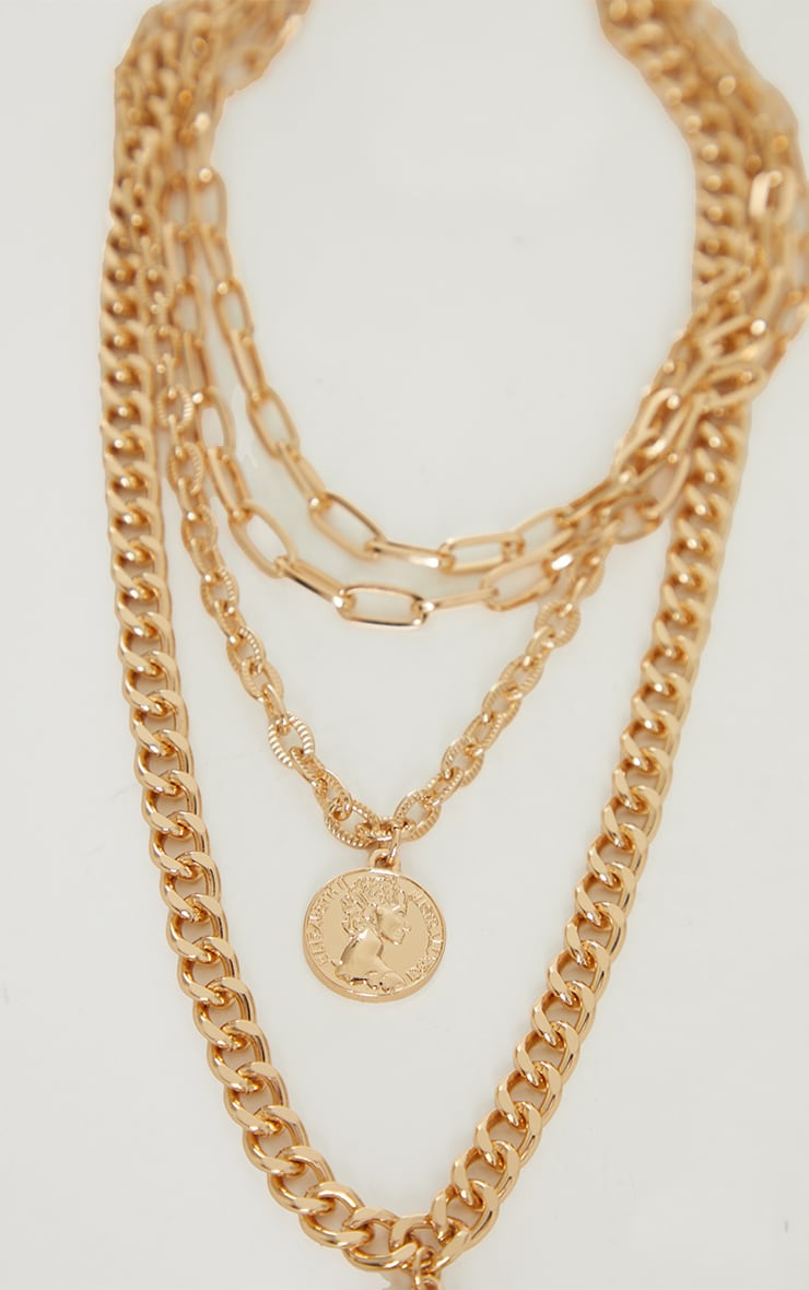 Gold Chunky Layering Double Pendant Necklace 4