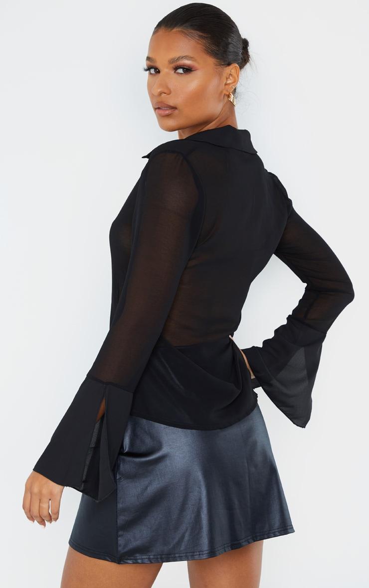 Black Sheer Chiffon Shirt 3