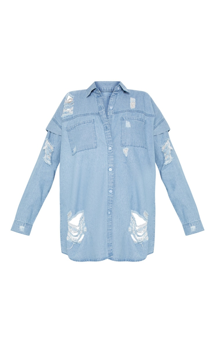 Light Wash Oversized Denim Shirt  3