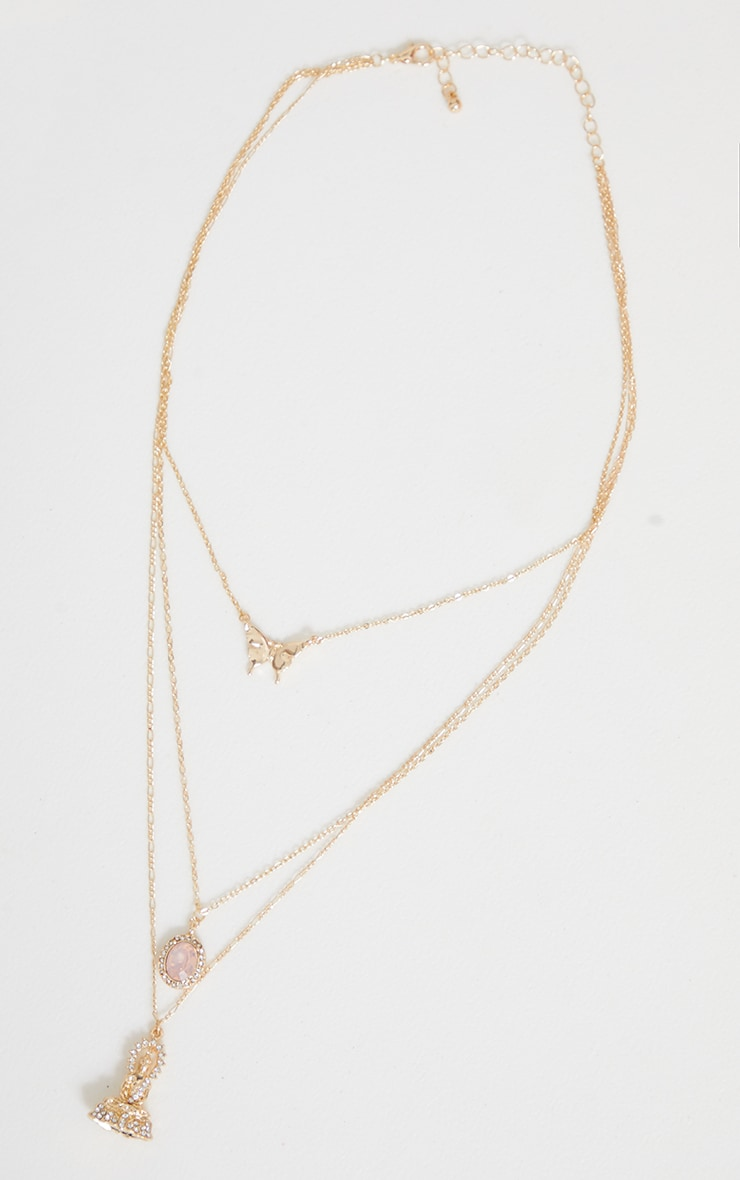 Gold Three Pendant Layering Necklace 3