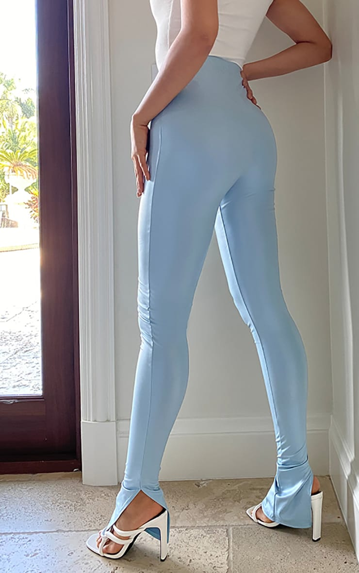 Tall Baby Blue Split Hem Coated PU Legging 3