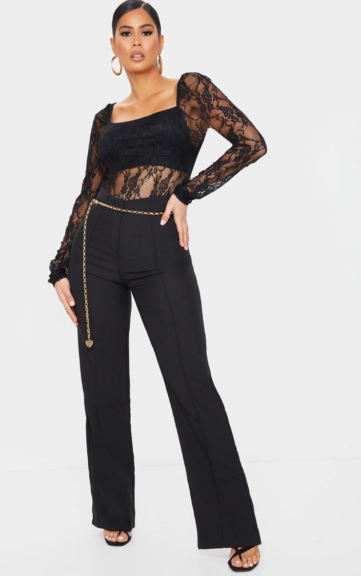 Black Lace Puff Sleeve Square Neck Bodysuit 3