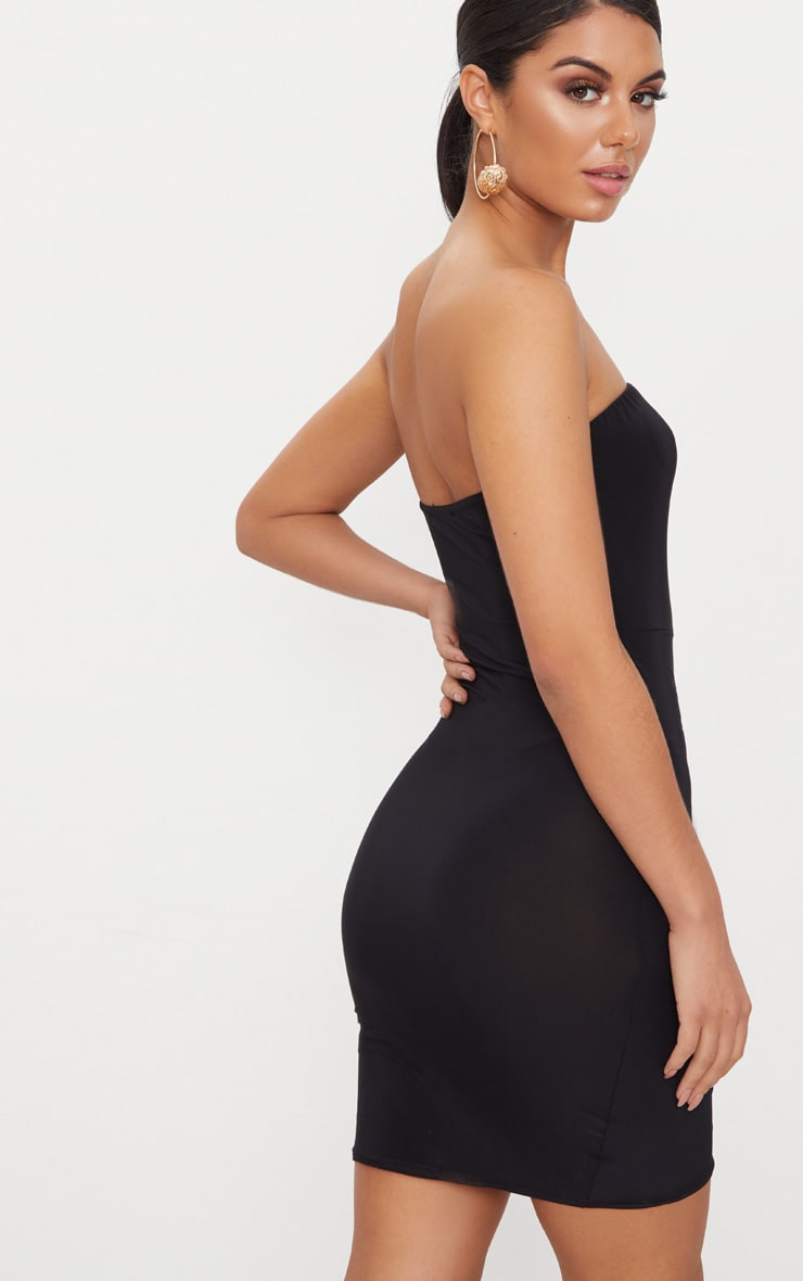 Black Bandeau Wrap Bodycon Dress 2
