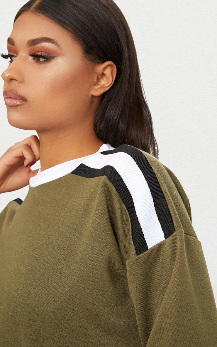 Khaki Triple Shoulder Stripe Oversized Sweater  5