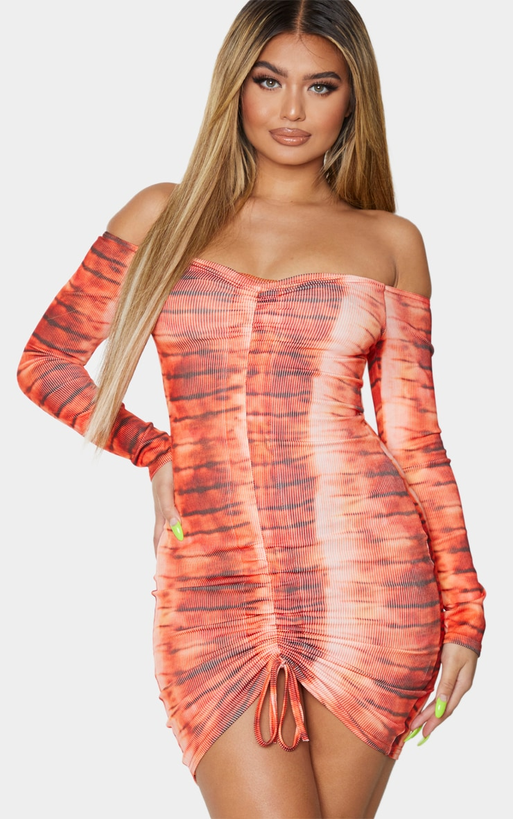 Orange Tie Dye Ribbed Long Sleeve Bardot Ruched Bodycon Dress 1