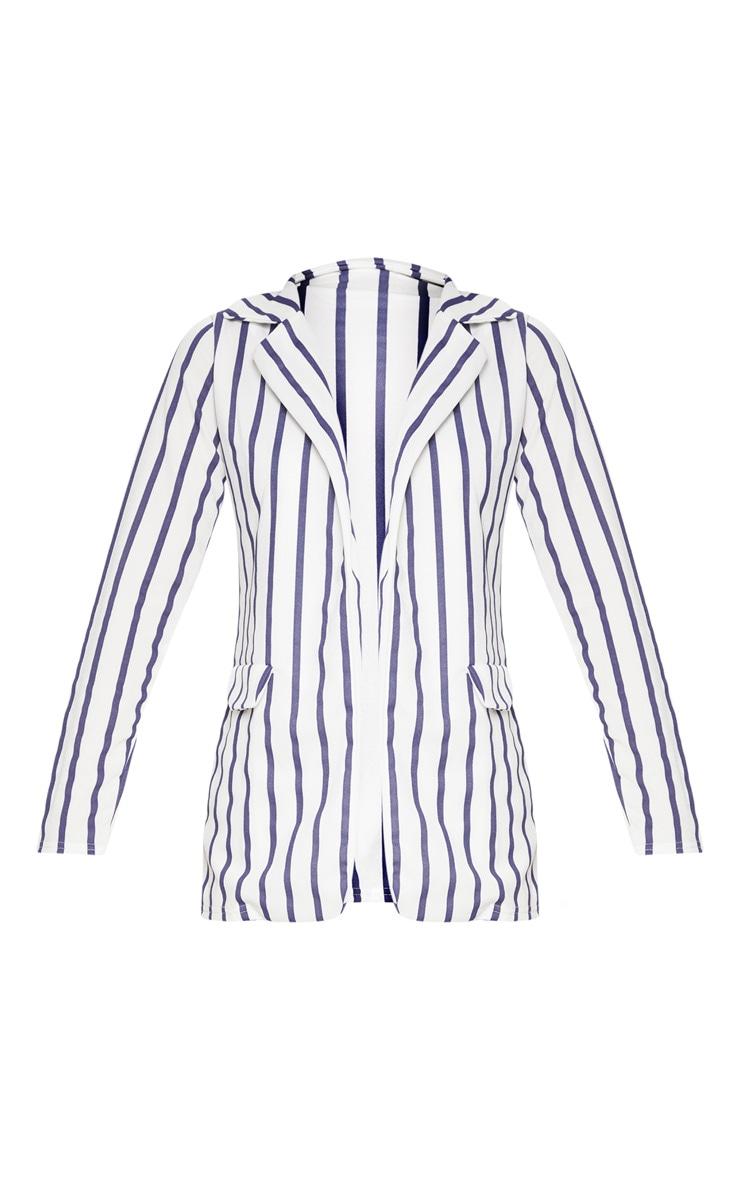 Blue Striped Pocket Detail Blazer  3