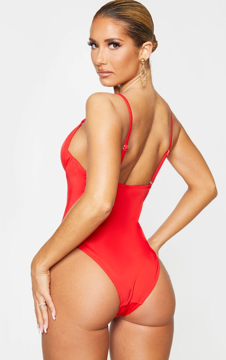 Red Underwired Plunge Swimsuit 2