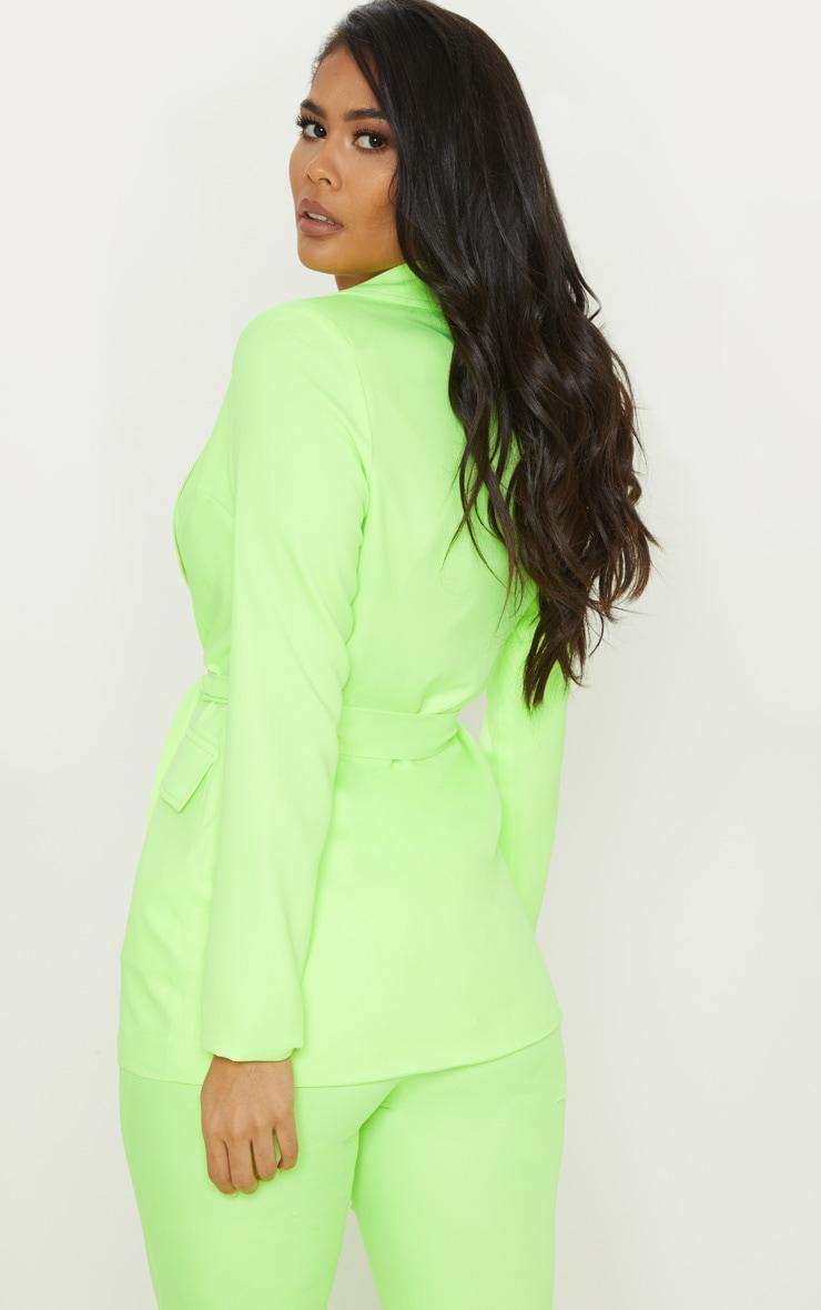 Neon Lime Belted Longline Woven Blazer  2