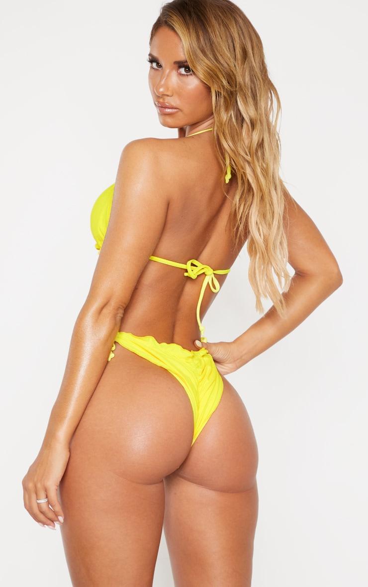 Yellow Frill Edge Padded Bikini Top 2