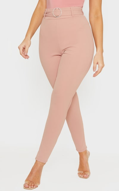 Blush Diamante Buckle Skinny Trousers