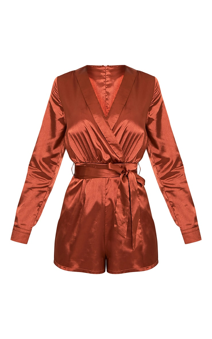 Amlie Tobbaco Satin Wrap Shirt Playsuit 3
