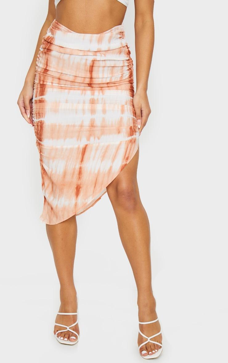 Orange Tie Dye Ruched Midi Skirt 2
