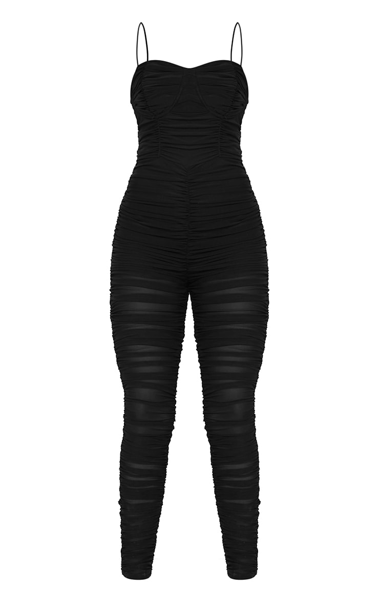 Black Mesh Ruched Cup Detail Jumpsuit 5