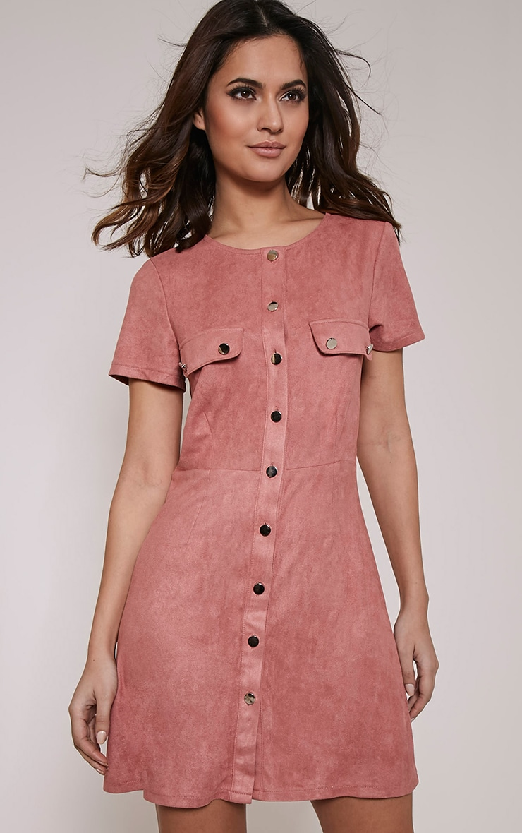 Estella Rose Button Front Suede Shift Dress 1
