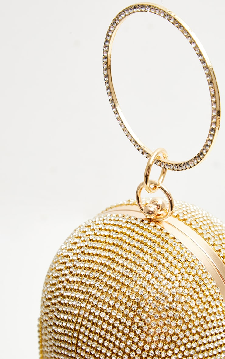 Gold Diamante Tassel Sphere Clutch 3