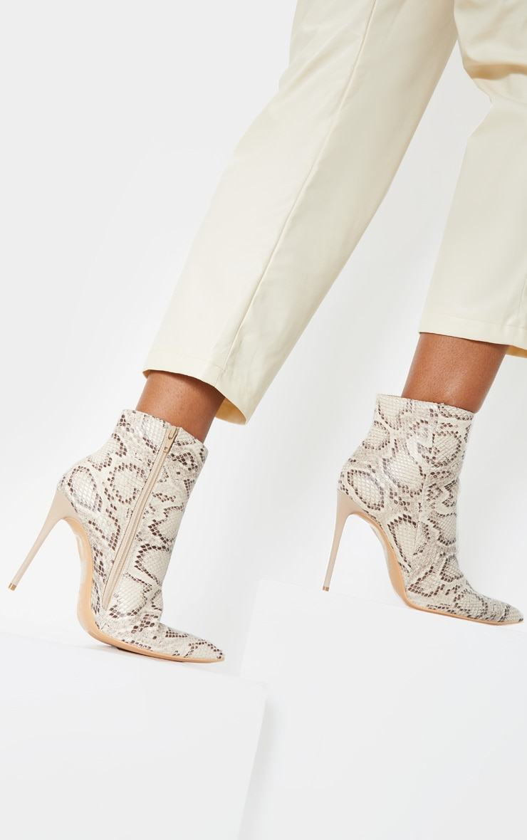 Beige Snake Point Toe Stiletto Heel Ankle Boot 1