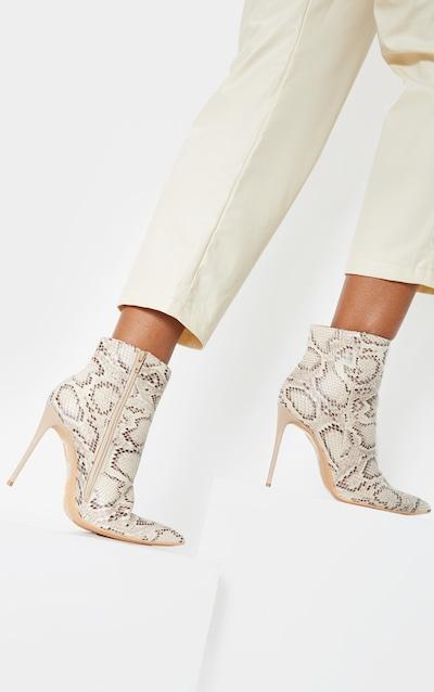 Beige Snake Point Toe Stiletto Heel Ankle Boot