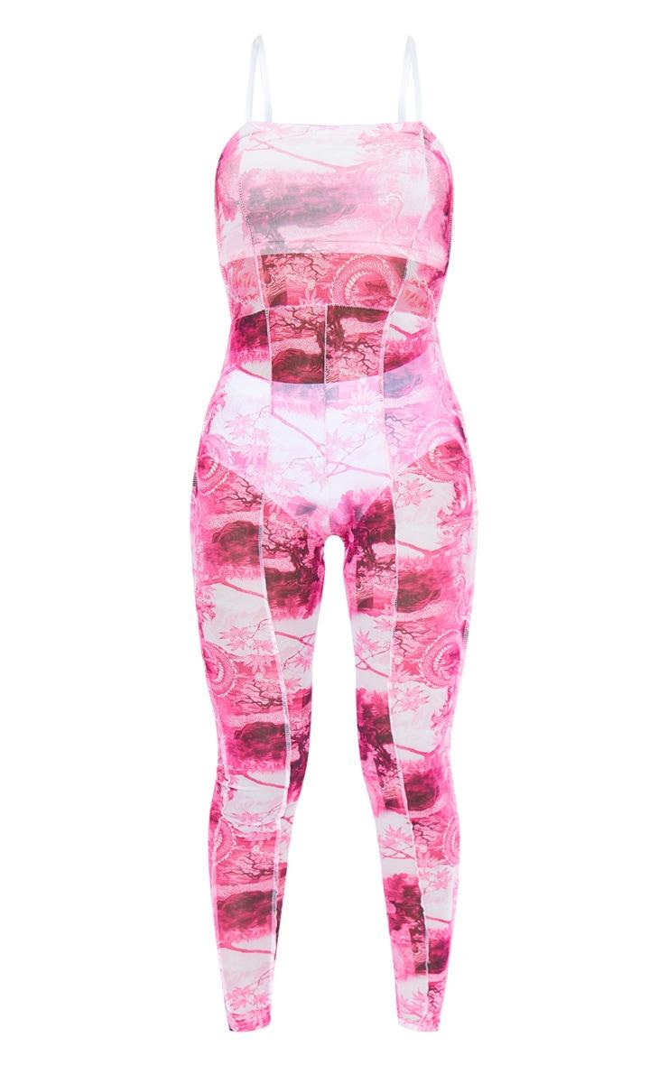 Pink Print Seam Detail Strappy Mesh Jumpsuit 6