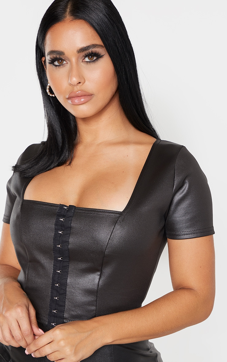 Shape Black PU Hook and Eye Crop Top 4