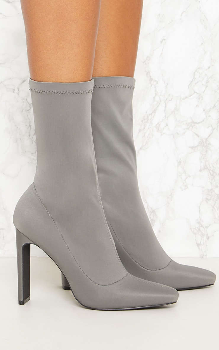 Charcoal Grey Lycra Heeled Ankle Boot 5